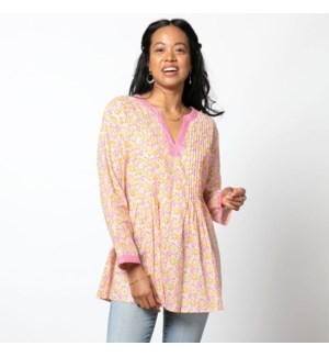 Arabella Pink bluCotton Pintuck Blouse-L AVAIL 2/25
