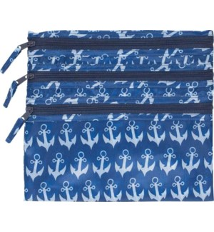 Anchor Navy 3-Zip Pouch