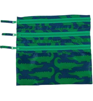 Alligators 3-Zip Pouch
