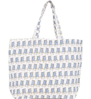Beach Chair Blue Jute Tote