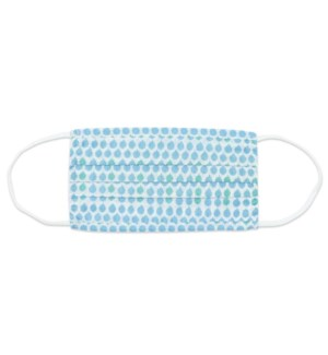 Buttons Blue  Pleated Cotton Mask