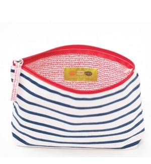Bateau Stripe Navy Pouch Medium