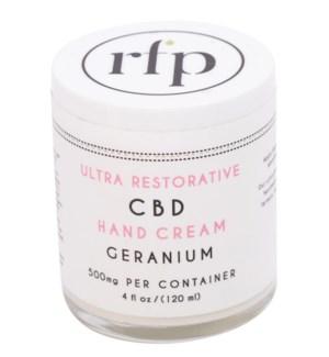 CBD Hand Cream (4 oz) Geranium 500mg