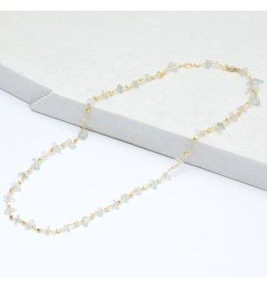 Aqua Handcut Bead Necklace GP 18""