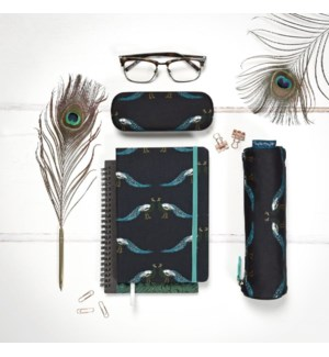 A5 Fabric Notebook - Peacocks