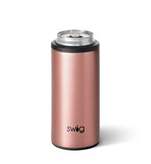 Swig 12oz Skinny Can Cooler Rose Gold with Black Accents