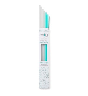 Clear & Aqua Tall Straw Set  ETA: EARLY SEPT