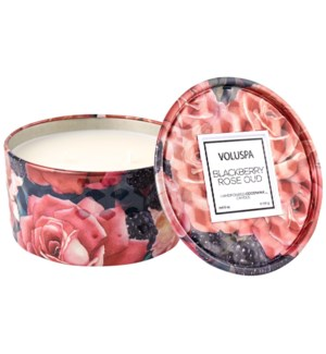 BLACKBERRY ROSE OUD 2 Wick Tin Candle