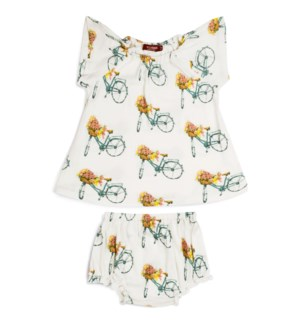 Bamboo Dress Set Floral Bicycle 3-6M