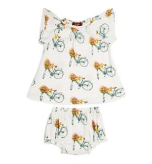 Bamboo Dress Set Floral Bicycle 6-12M