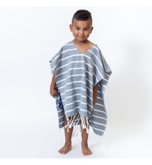 Organic Cotton Bondi  Kids Poncho Navy