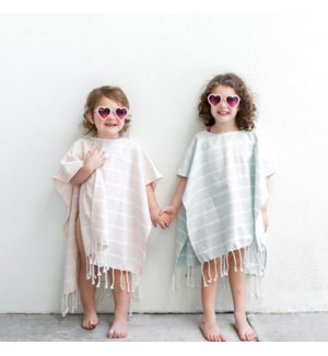 Organic Cotton Bondi  Kids Poncho Whisper Pink