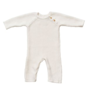 Knit Baby Romper (Long) White 6-12M