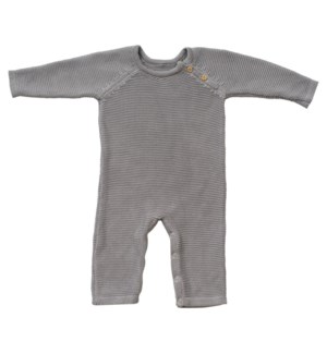 Knit Baby Romper (Long) Gray 6-12M