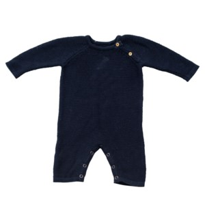 Knit Baby Romper (Long) Navy 6-12M