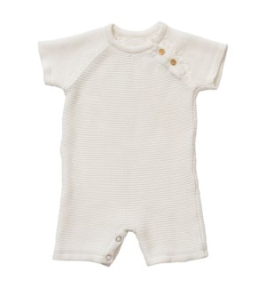 Knit Baby Romper (Short) White 6-12M