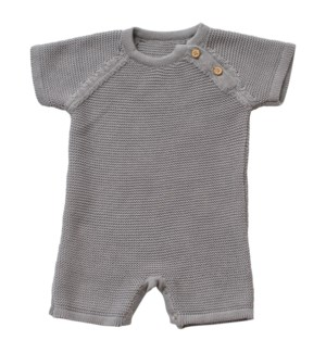 Knit Baby Romper (Short) Gray 6-12M