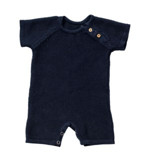 Knit Baby Romper (Short) Navy 6-12M