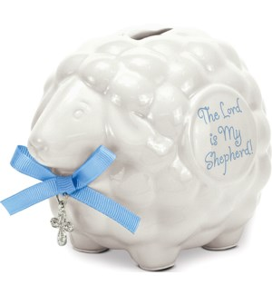 Ceramic Lamb Bank Blue