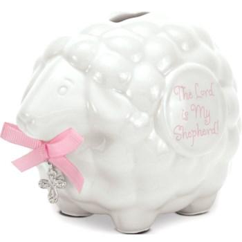 Ceramic Lamb Bank Pink