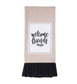 Welcome Friends Tan & Black Tea Towel
