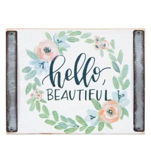 Hello Beautiful White Wood Block Sign