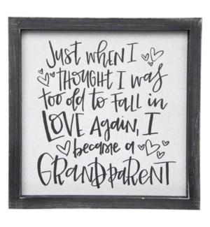 I Became a Grandparent Framed Linen Sign