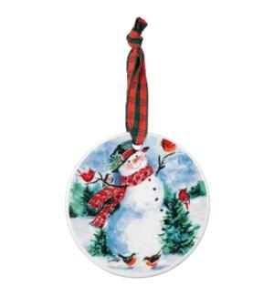 Friendly Snowman Vintage Porcelain Ornament