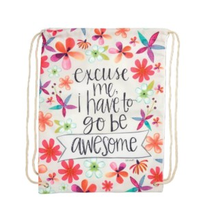 Go Be Awesome Drawstring Backpack