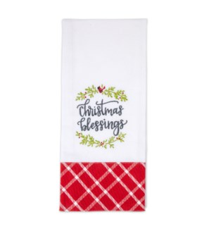 Christmas Blessings Embroidered Tea Towel