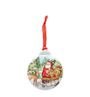 Santa With Sleigh Christmas Ornament
