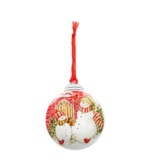 Sledding Snowmen Christmas Ornament