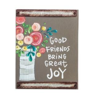 Good Friends Gray Wood Block Sign