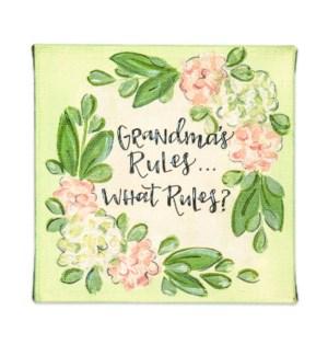 Grandma's Rules Miniature Canvas Sign
