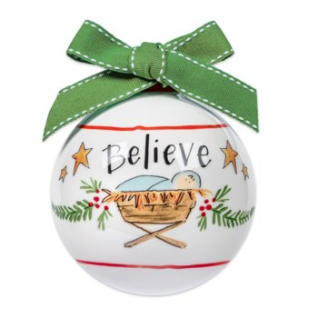 Believe Ceramic Ball Ornament