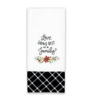 Love Grows Best Embroidered Towel