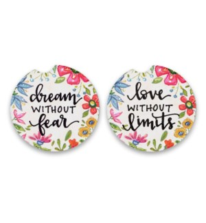 Dream Without Fear 2 Pack Car Coaster