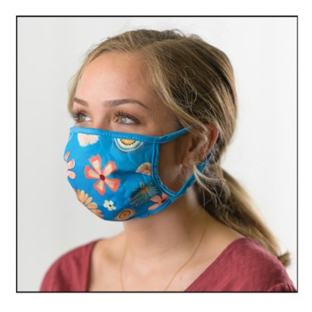 Blue Floral Protective Cover Mask