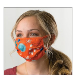 Orange Floral Protective Cover Mask
