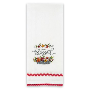 Blessed Simple Inspirations Embroidered Tea Towel