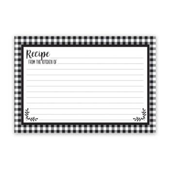 Black and White Check Recipe Cards