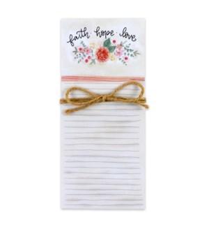 Faith Hope Love Magnetic List Pad