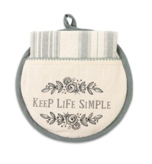 Keep Life Simple Hot Pad & Tea Towel Set