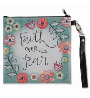 Faith Over Fear Square Wristlet Zipper Bag