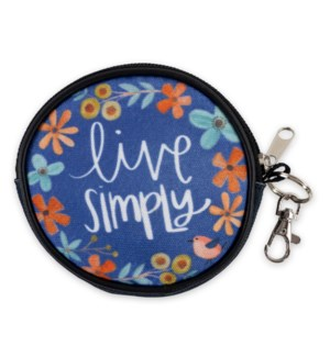 Live Simply Round Zippered Coin Purse