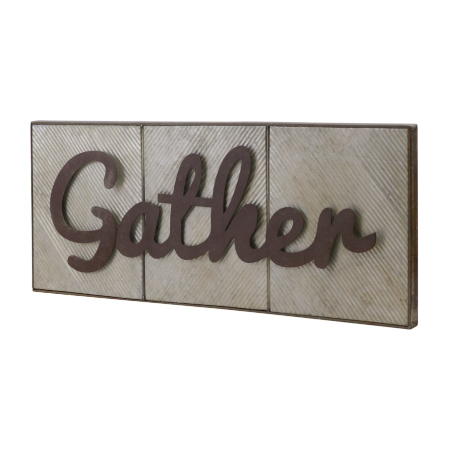 "|MTL. WORD ART ""GATHER"" (4/cs)