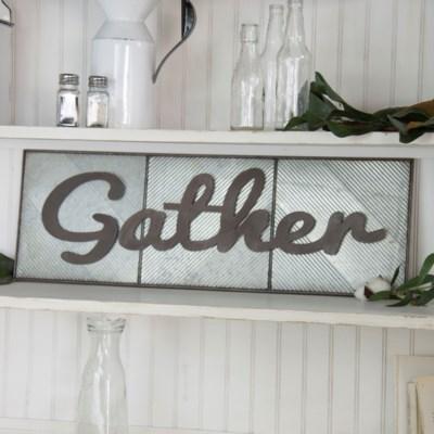 " MTL. WORD ART ""GATHER"" (4/cs) "