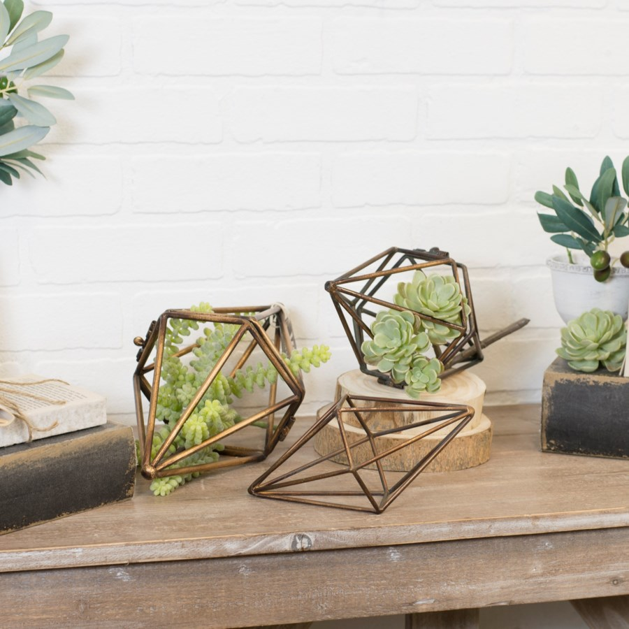 |MTL. RHOMBUS SHAPED DECOR SET/3 (4 sets/cs)|