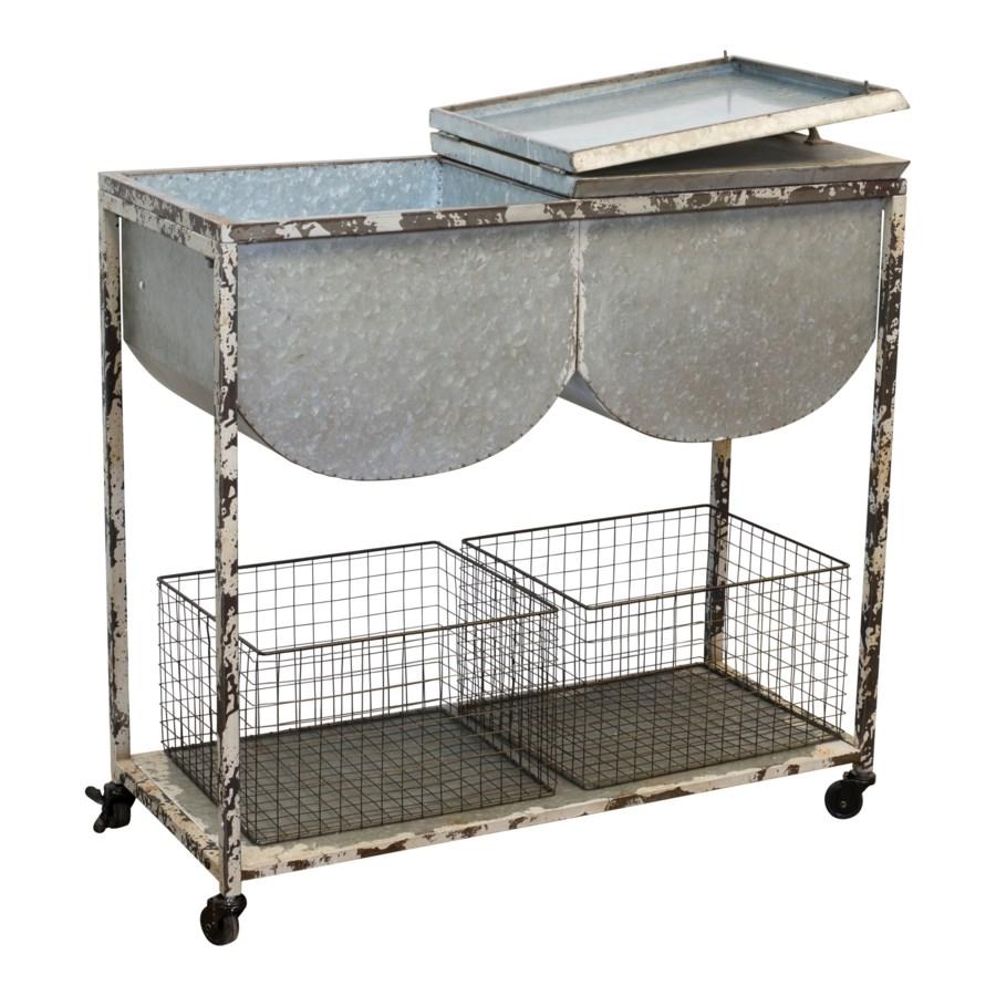 MTL. WASH TUB TABLE (1/cs)