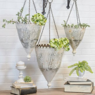MTL. HANGING PLANTERS SET/3 (1/cs)
